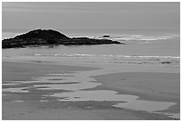 Dusk, Long Beach. Pacific Rim National Park, Vancouver Island, British Columbia, Canada (black and white)