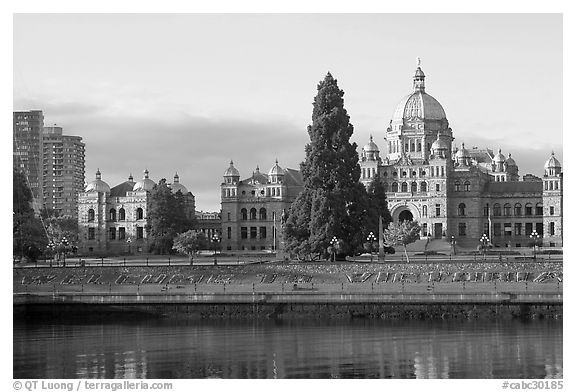Legistlative buildings and welcome to Victoria flower decor, morning. Victoria, British Columbia, Canada (black and white)