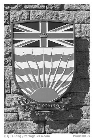 Shield of British Columbia Province. Victoria, British Columbia, Canada (black and white)