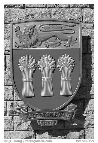 Shield of Saskatchewan Province. Victoria, British Columbia, Canada (black and white)