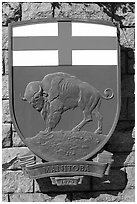 Shield of Manitoba Province. Victoria, British Columbia, Canada (black and white)
