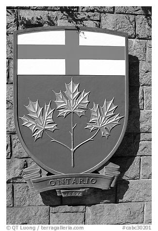 Shield of Ontario Province. Victoria, British Columbia, Canada (black and white)