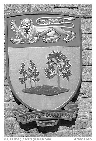 Shield of Prince Edward Island Province. Victoria, British Columbia, Canada (black and white)