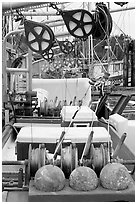 Fishing equipment on boat, Uclulet. Vancouver Island, British Columbia, Canada (black and white)