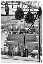 Fishing equipment on boat, Uclulet. Vancouver Island, British Columbia, Canada ( black and white)