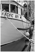 Commercial fishing boat, Uclulet. Vancouver Island, British Columbia, Canada (black and white)