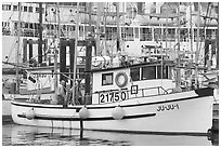Fishing boat, Uclulet. Vancouver Island, British Columbia, Canada ( black and white)