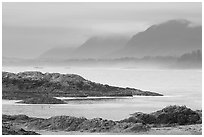 Ocean and coastal range. Pacific Rim National Park, Vancouver Island, British Columbia, Canada ( black and white)