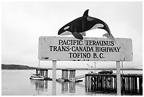 Sign marking the Pacific terminus of the trans-Canada highway, Tofino. Vancouver Island, British Columbia, Canada ( black and white)