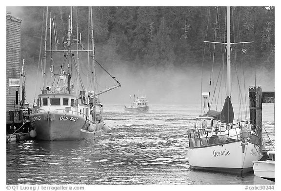 Yacht and fishing boat, Tofino. Vancouver Island, British Columbia, Canada