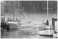 Yacht and fishing boat, Tofino. Vancouver Island, British Columbia, Canada (black and white)