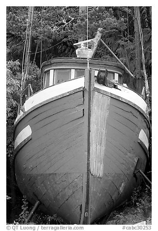 Prow of retired fishing boat. Vancouver Island, British Columbia, Canada (black and white)
