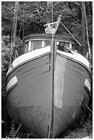 Prow of retired fishing boat. Vancouver Island, British Columbia, Canada ( black and white)