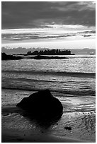 Sunset, Half Moon Bay. Pacific Rim National Park, Vancouver Island, British Columbia, Canada ( black and white)