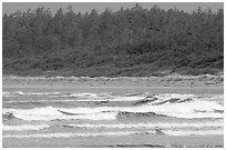 Waves washing on Long Beach. Pacific Rim National Park, Vancouver Island, British Columbia, Canada ( black and white)