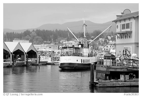 Harbor Quay with the Lady Rose ferry, Port Alberni. Vancouver Island, British Columbia, Canada (black and white)
