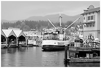 Harbor Quay with the Lady Rose ferry, Port Alberni. Vancouver Island, British Columbia, Canada ( black and white)