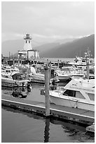 Harbour and lighthouse, Port Alberni. Vancouver Island, British Columbia, Canada (black and white)