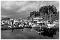Small boat harbor, Port Alberni. Vancouver Island, British Columbia, Canada (black and white)