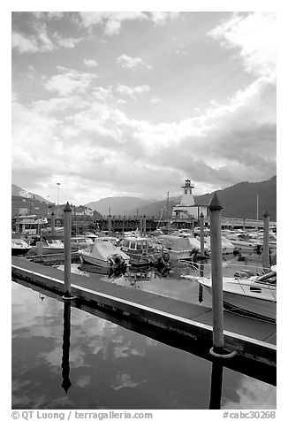 Harbour on Alberni Inlet, Port Alberni. Vancouver Island, British Columbia, Canada (black and white)