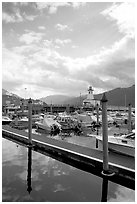 Harbour on Alberni Inlet, Port Alberni. Vancouver Island, British Columbia, Canada ( black and white)