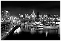 Inner harbor and parliament at night. Victoria, British Columbia, Canada (black and white)