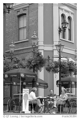 Outdoor terrace, Bastion square. Victoria, British Columbia, Canada (black and white)