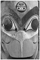 Totem pole detail, Thunderbird Park. Victoria, British Columbia, Canada (black and white)