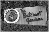 Entrance sign of Butchard Gardens. Butchart Gardens, Victoria, British Columbia, Canada ( black and white)