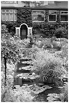 Pond in Italian Garden and Dining Room. Butchart Gardens, Victoria, British Columbia, Canada ( black and white)