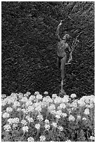 Florentine statue of Mercury. Butchart Gardens, Victoria, British Columbia, Canada (black and white)