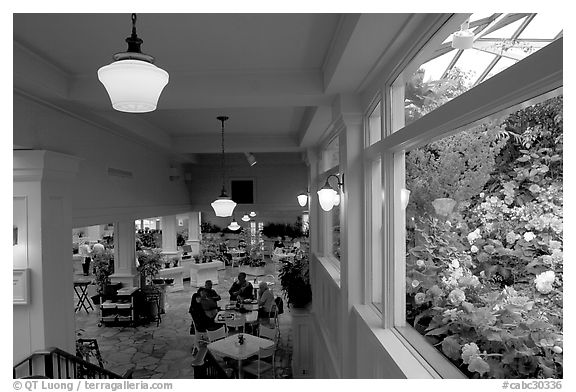 Blue Poppy Restaurant and Show Greenhouse. Butchart Gardens, Victoria, British Columbia, Canada (black and white)