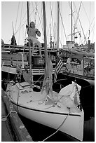 Girl swinging from the mast of a small sailboat, Inner Harbour. Victoria, British Columbia, Canada (black and white)