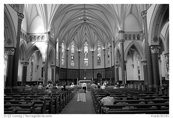 Interior of church. Victoria, British Columbia, Canada (black and white)