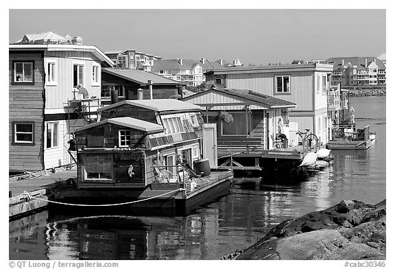 Houseboats near Fisherman's wharf. Victoria, British Columbia, Canada (black and white)