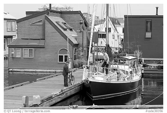 Yacht and houseboats. Victoria, British Columbia, Canada (black and white)