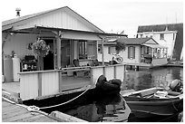 Houseboat, Upper Harbour. Victoria, British Columbia, Canada (black and white)
