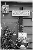 Whimsical decorations on houseboat. Victoria, British Columbia, Canada (black and white)