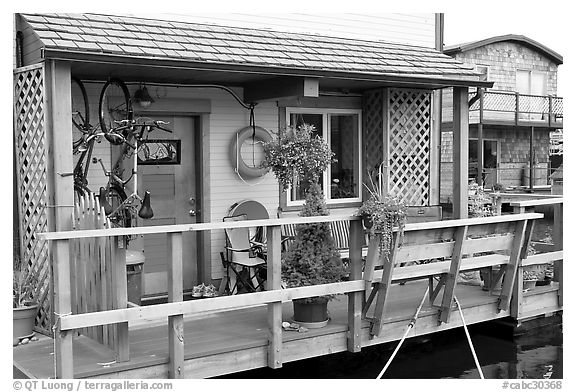 Houseboat porch. Victoria, British Columbia, Canada (black and white)