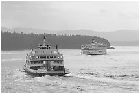 Ferries in the San Juan Islands. Vancouver Island, British Columbia, Canada ( black and white)