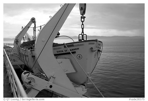 Lifeboat on a ferry. Vancouver Island, British Columbia, Canada (black and white)