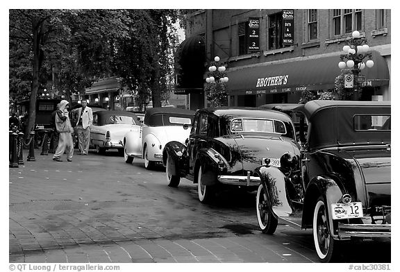 Black and white picture photo classic cars in gastown vancouver british columbia canada