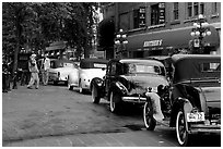 Classic cars in Gastown. Vancouver, British Columbia, Canada ( black and white)