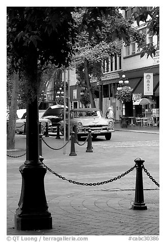 Water Street, Gastown. Vancouver, British Columbia, Canada (black and white)