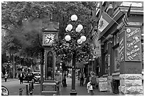 Steam clock in Water Street. Vancouver, British Columbia, Canada (black and white)