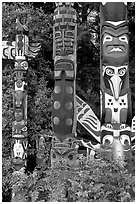 Totems near the Capilano bridge. Vancouver, British Columbia, Canada (black and white)