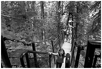 Kid on treetop trail. Vancouver, British Columbia, Canada (black and white)