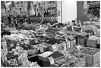 Chinese medicinal goods in Chinatown. Vancouver, British Columbia, Canada (black and white)