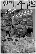 Store selling traditional medicine in Chinatown. Vancouver, British Columbia, Canada (black and white)
