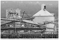 Industrial installations in harbor. Vancouver, British Columbia, Canada (black and white)